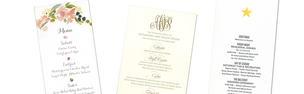 menus programs letter perfect stationery