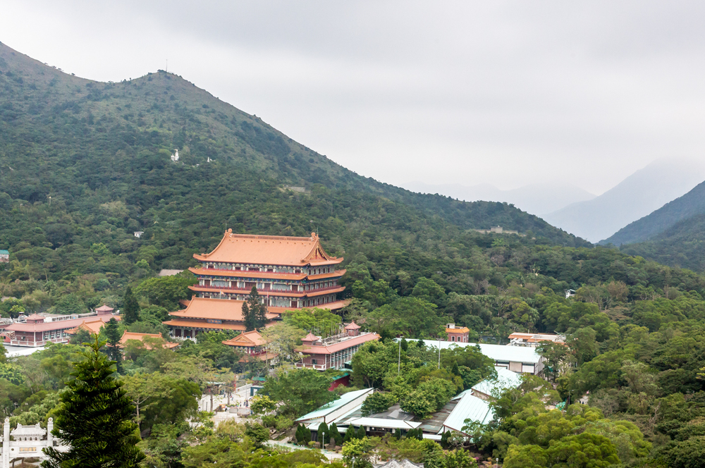 View of the Po Lin Monastery from the base of the Tian Tan Buddha statue.
