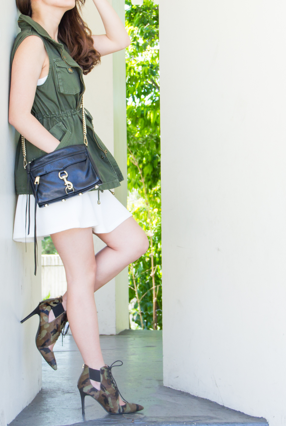 Military Love | Army Green Twill Vest & Camo Booties | via The Chic Diary