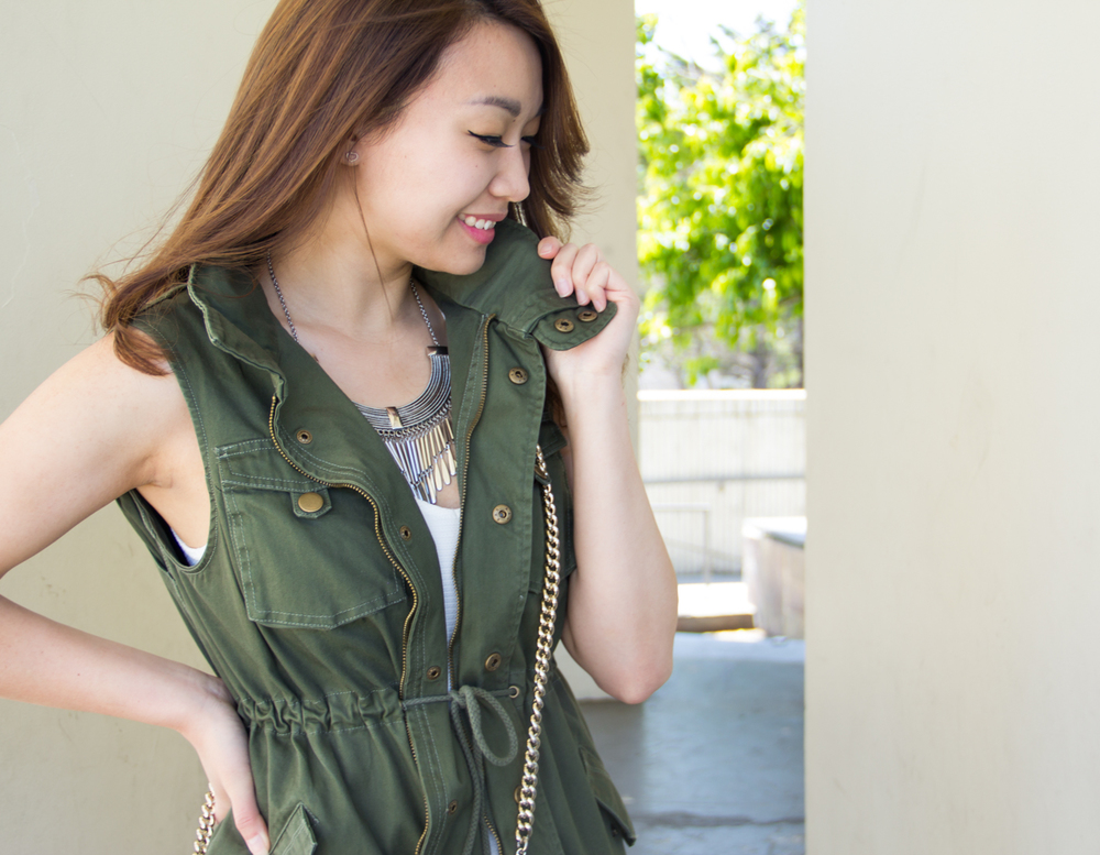 Pleione cotton twill military vest | via The Chic Diary