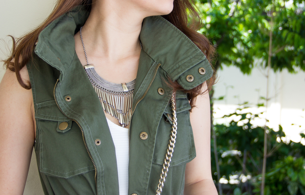 Stand-collar military vest | via The Chic Diary
