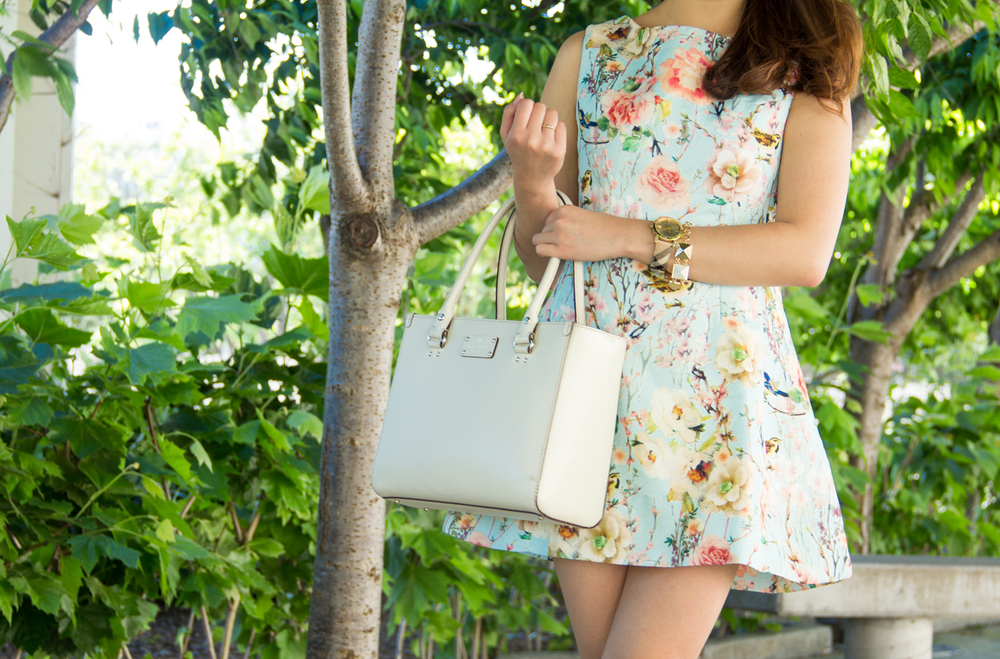 Floral a-line jacquard dress | via The Chic Diary