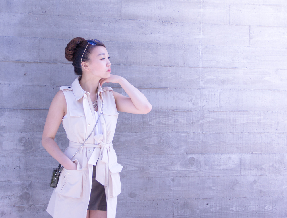 Bebe trench vest | via The Chic Diary