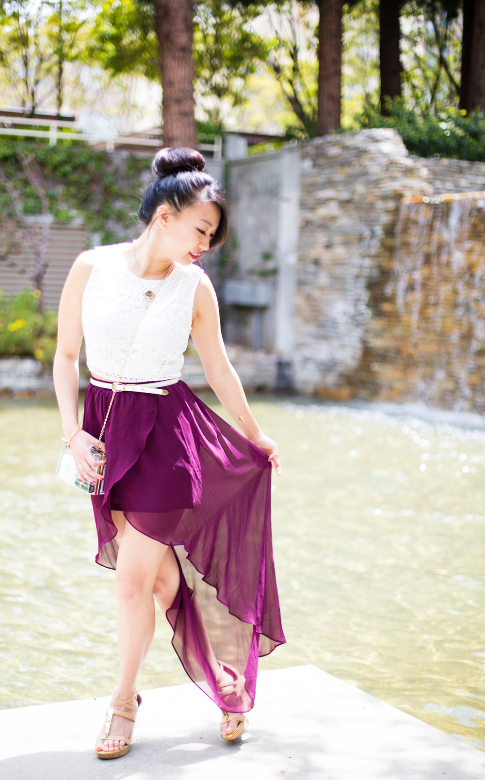 7.14.15. New Beginnings | Lace Crop Top & Flowy High-Low Skirt