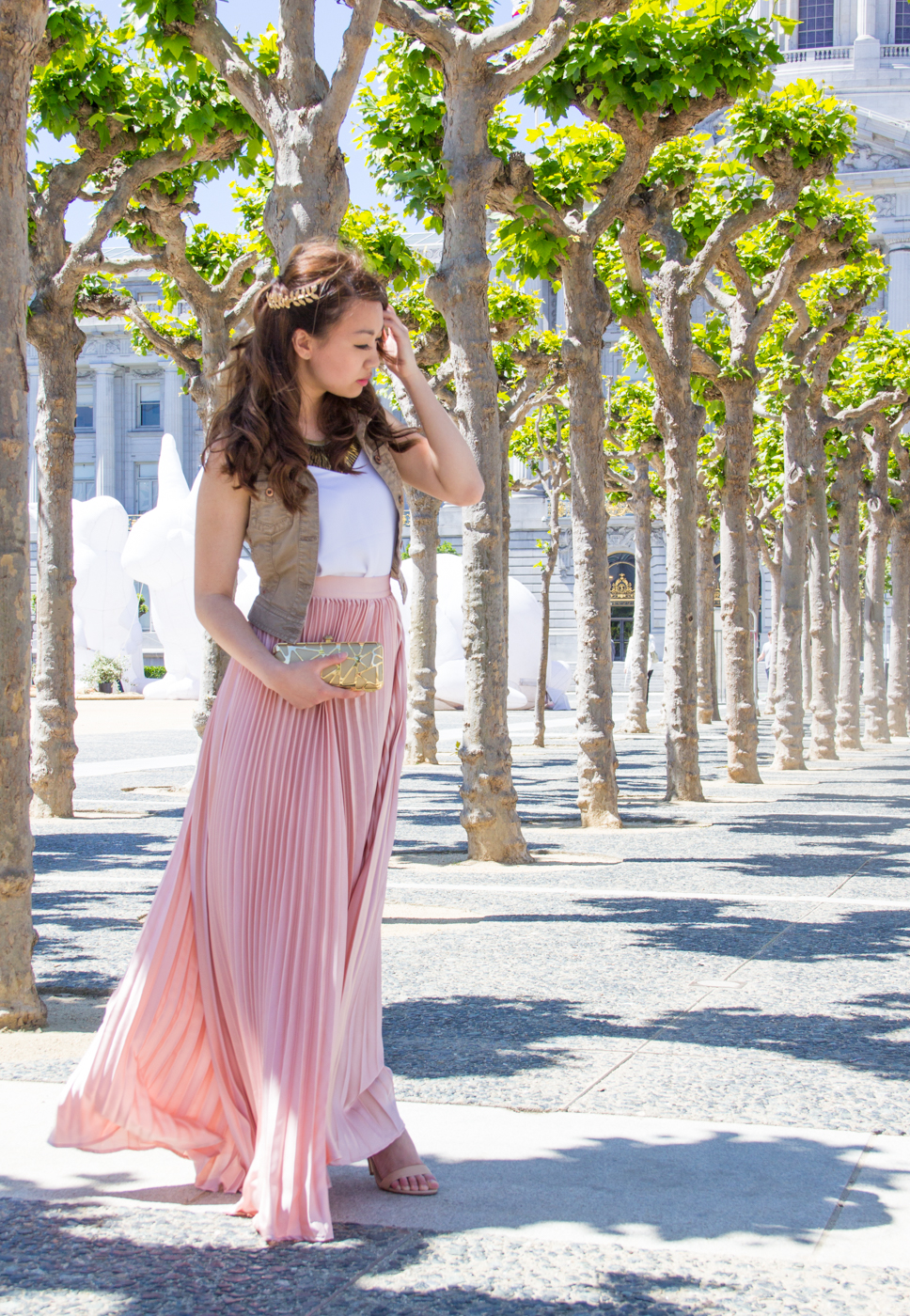05.19.16: Grecian Vibes | Rose Pleated Maxi Skirt & Gold Accents