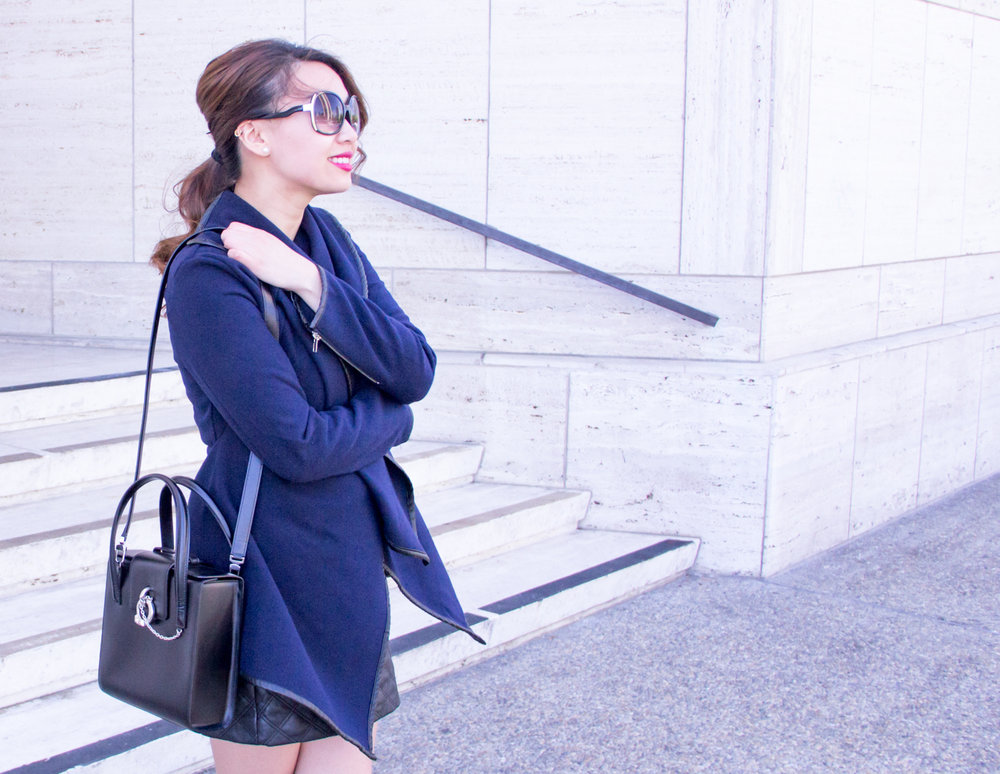 Navy wrap coat & Cartier structured bag | The Chic Diary