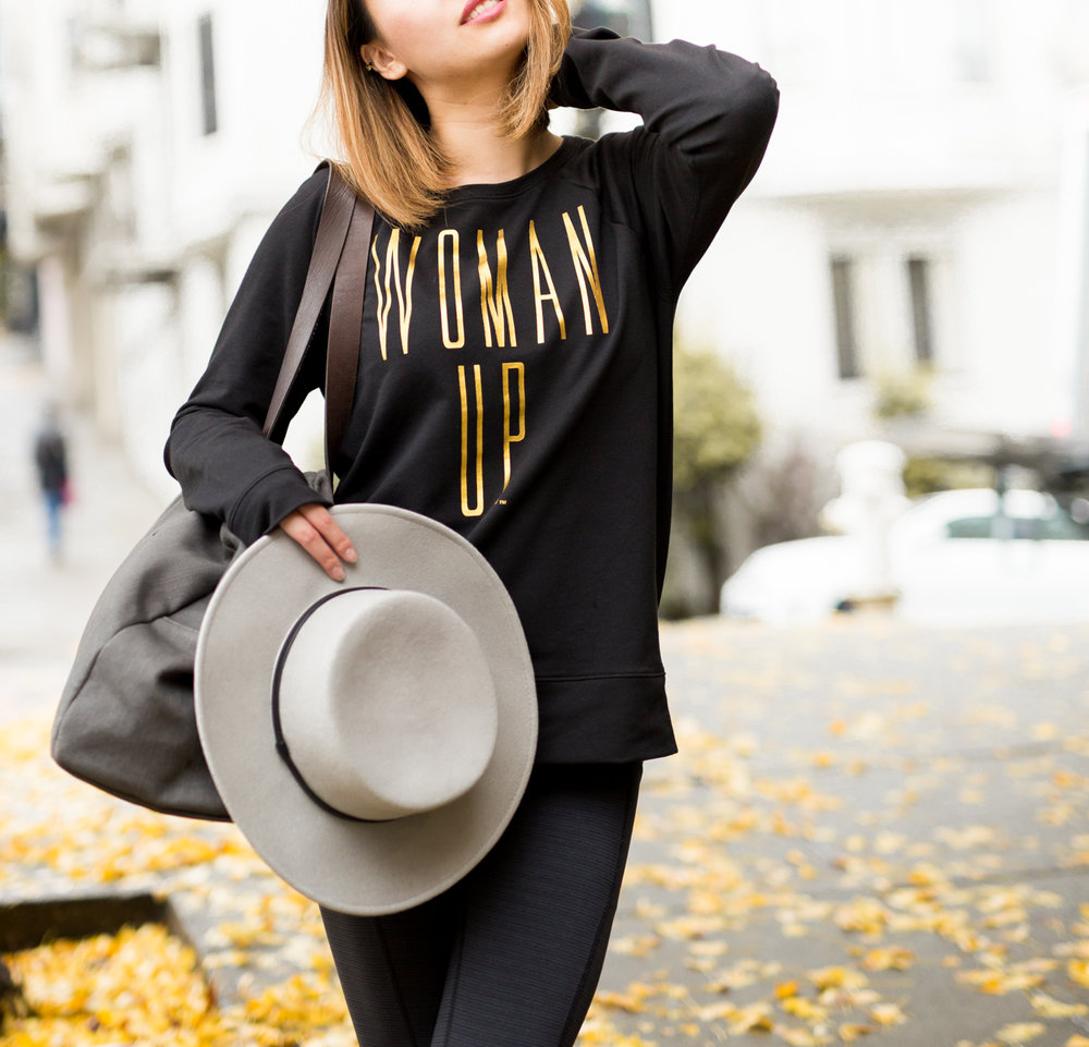 Lucy 'Woman Up' Sweatshirt & Leggings | The Chic Diary