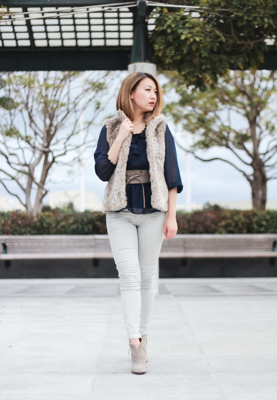 San Francisco Winter | Faux Fur Vest & Rag & Bone Margot Booties | The Chic Diary