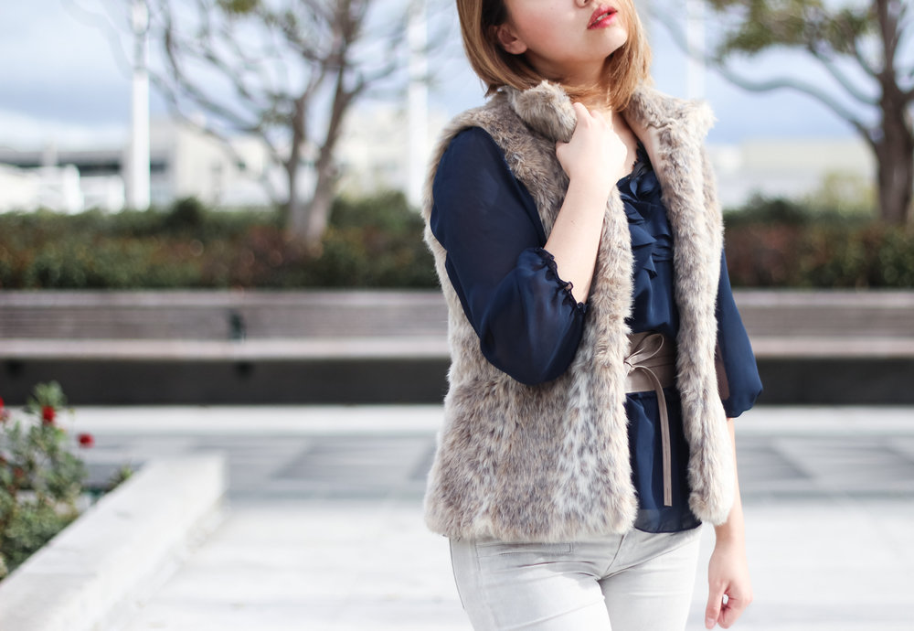Banana Republic Beige Faux Fur Vest | The Chic Diary