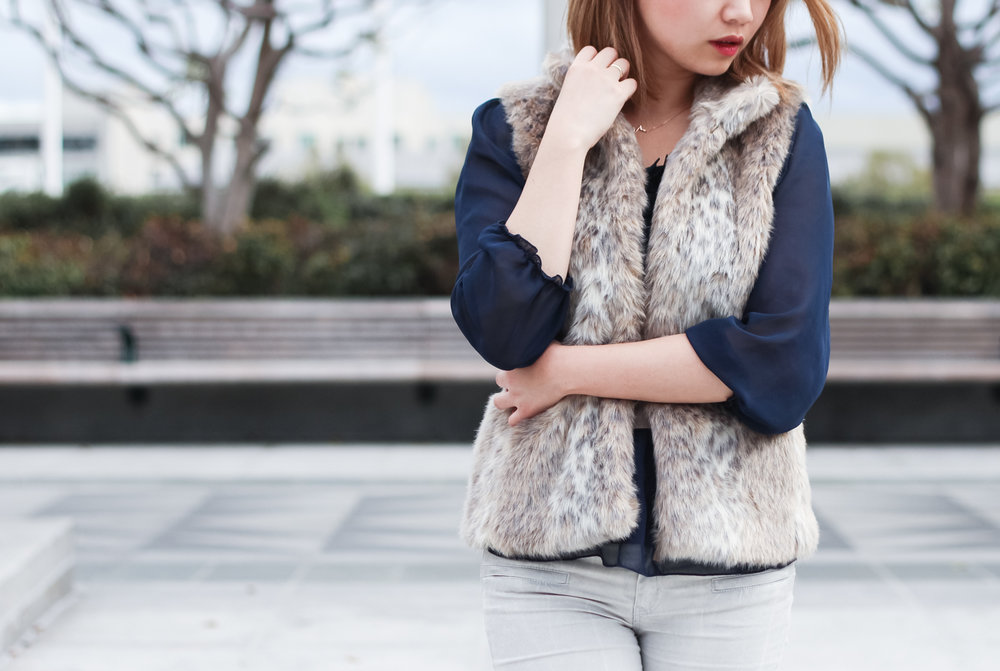 Banana Republic Faux Fur Vest | The Chic Diary