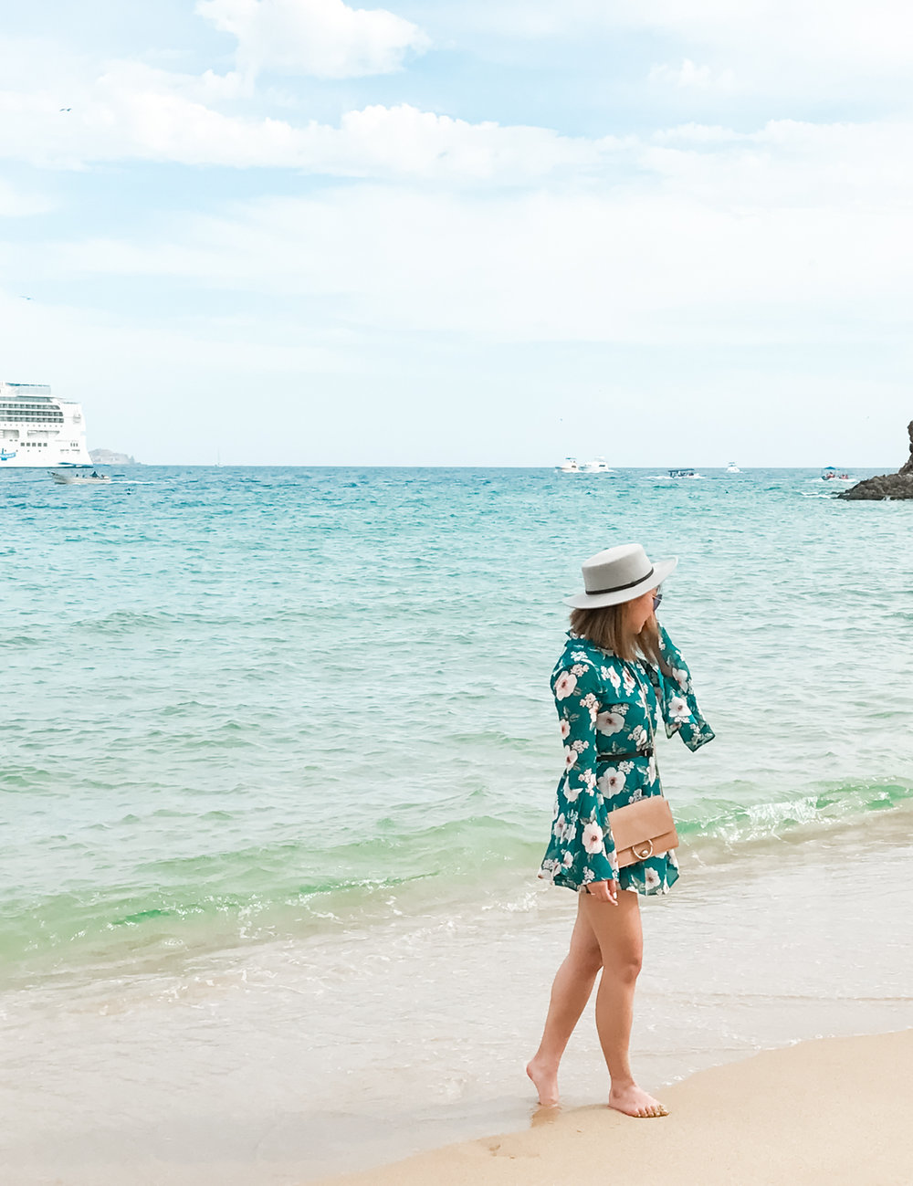 Forever 21 Floral Print Bell-Sleeved Dress & Sole Society Boater Hat | The Chic Diary