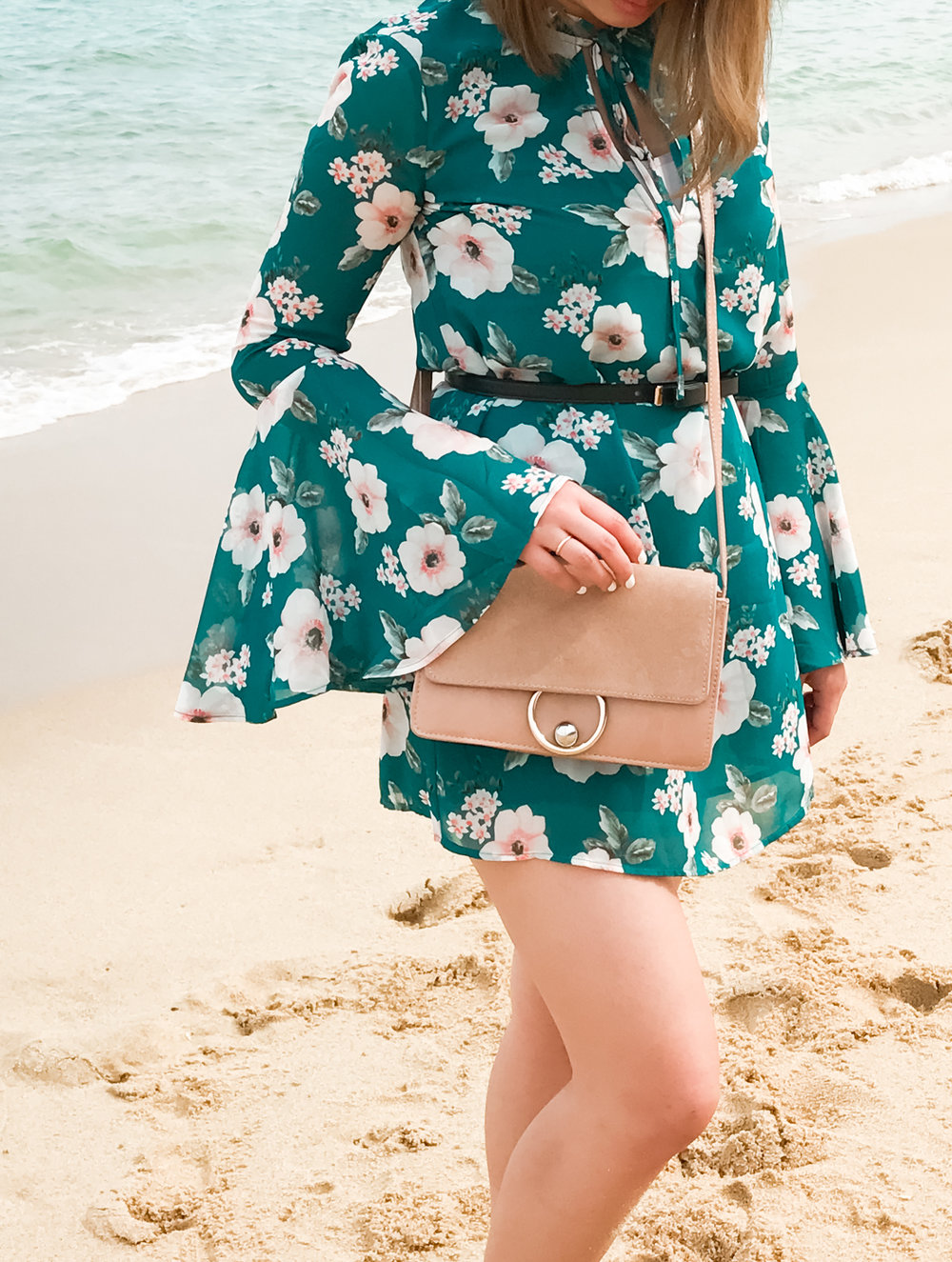 Forever 21 Floral Print Bell-Sleeved Dress & Mango Leather Flap Bag | The Chic Diary