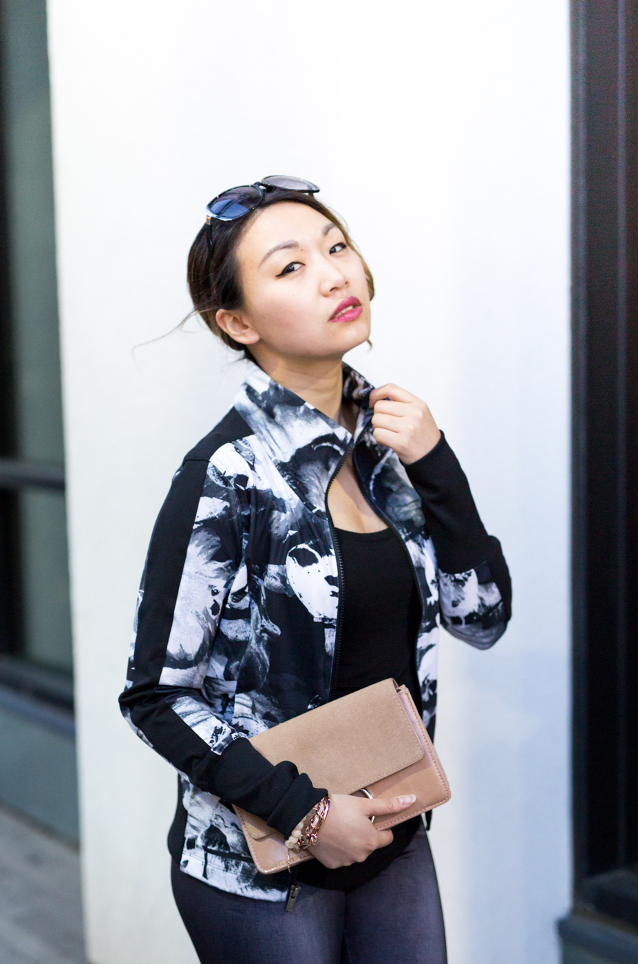 Lucy Black Abstract Floral Print Track Jacket | The Chic Diary