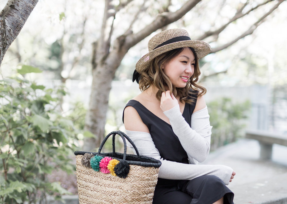 San Diego Hat Co Pom Seagrass Tote | The Chic Diary