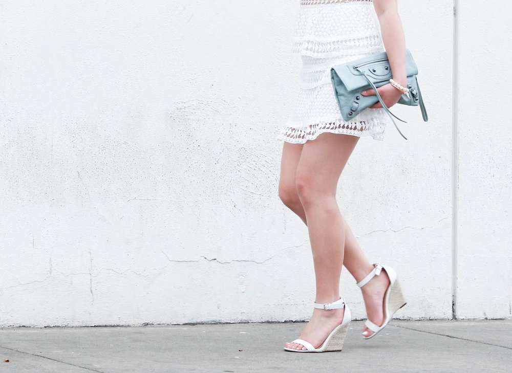 JustFab white sandal wedges | The Chic Diary