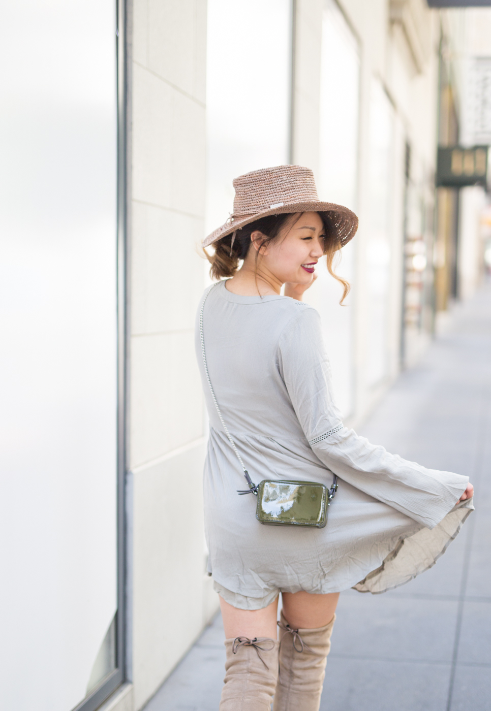 Tobi shift dress & San Diego Hat Co raffia hat | The Chic Diary
