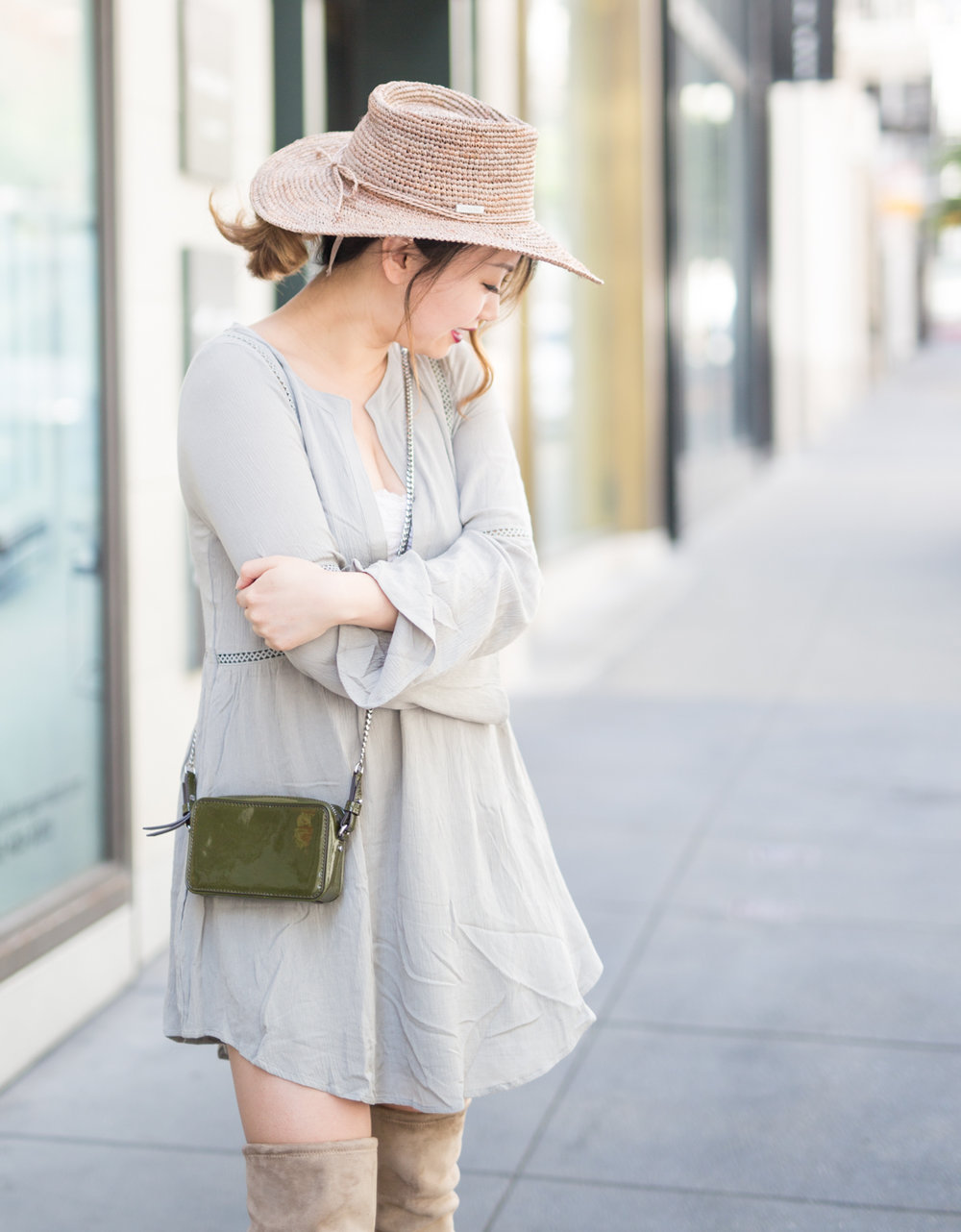Tobi shift dress & San Diego Hat Co hat | The Chic Diary