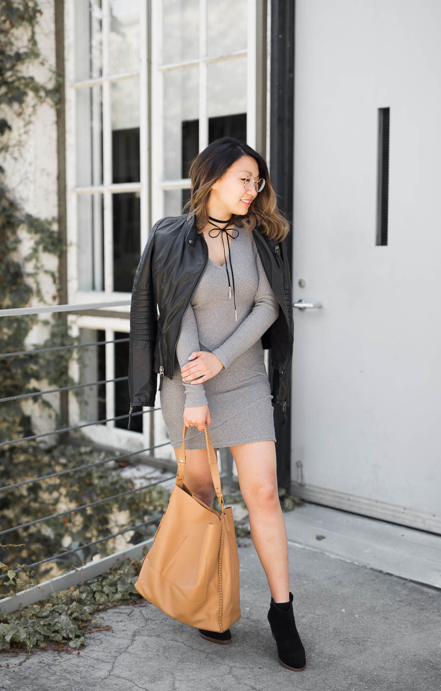 Zara leather jacket & All Saints leather tote | The Chic Diary