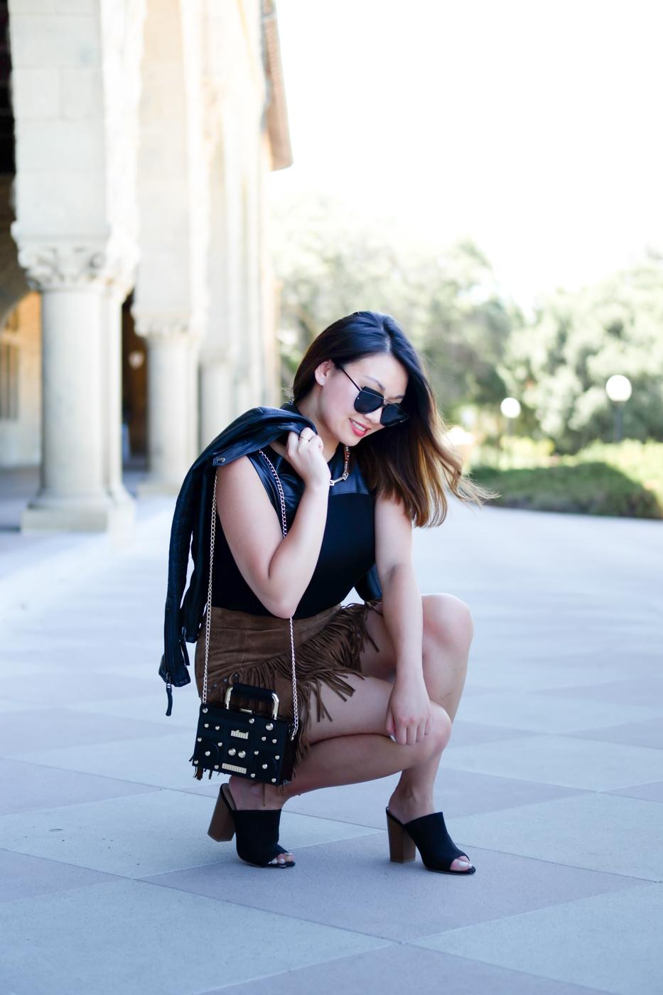 Zara fringe skirt & leather moto jacket | The Chic Diary
