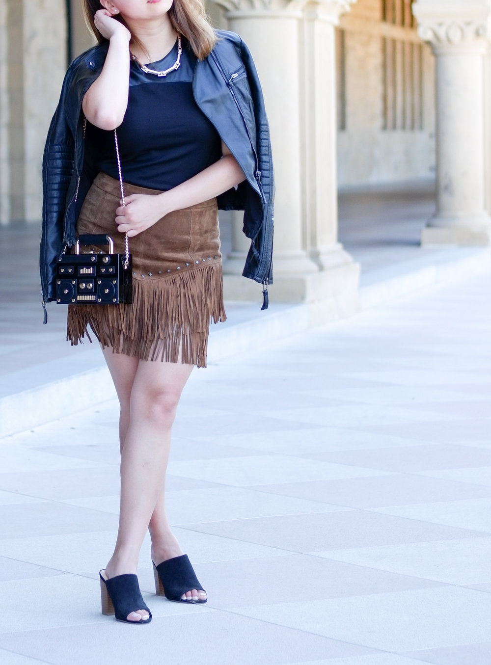 Leather moto jacket, fringe skirt, black mules | The Chic Diary