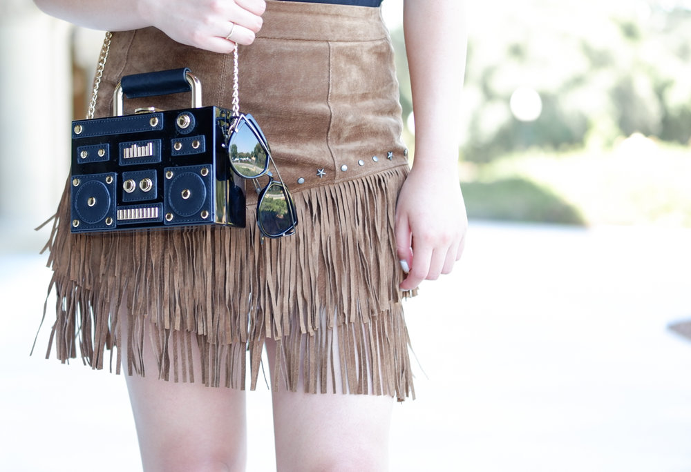 Zara fringe skirt & stereo bag | The Chic Diary