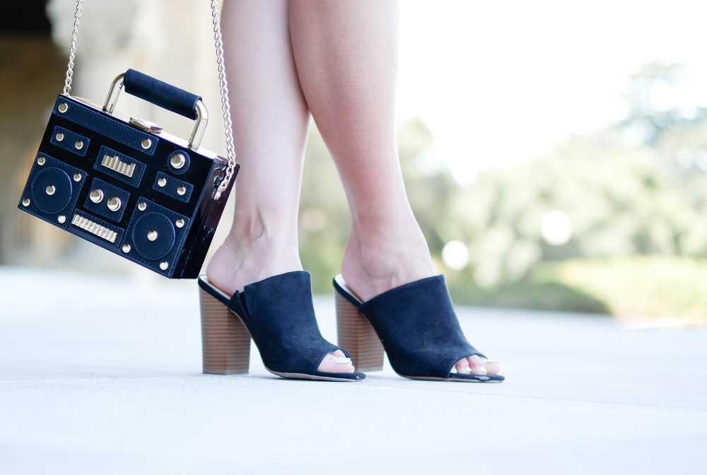Zara stereo crossbody bag & JustFab mules | The Chic Diary