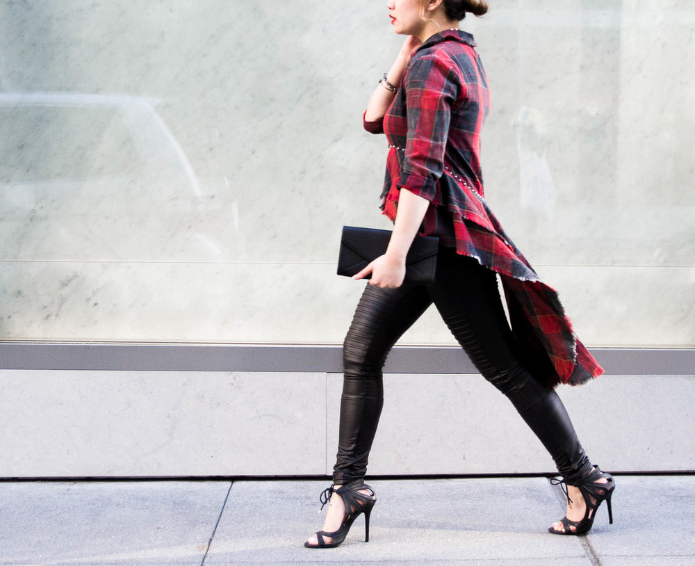 Zara High-Low Plaid Shirt & Plush Moto Leggings | The Chic Diary