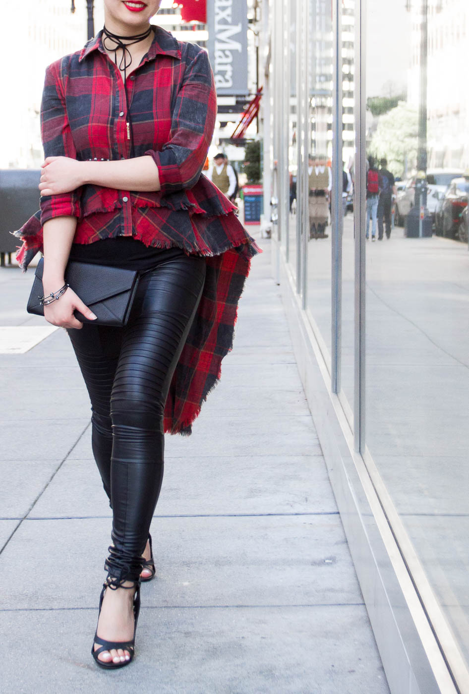 Zara Plaid Shirt, Cuyana Envelope Clutch, & Plush Moto Leggings | The Chic Diary