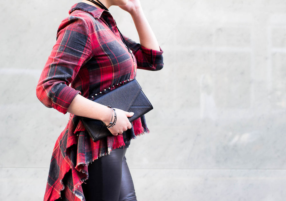 Cuyana Leather Envelope Clutch & Zara Red Plaid Shirt | The Chic Diary
