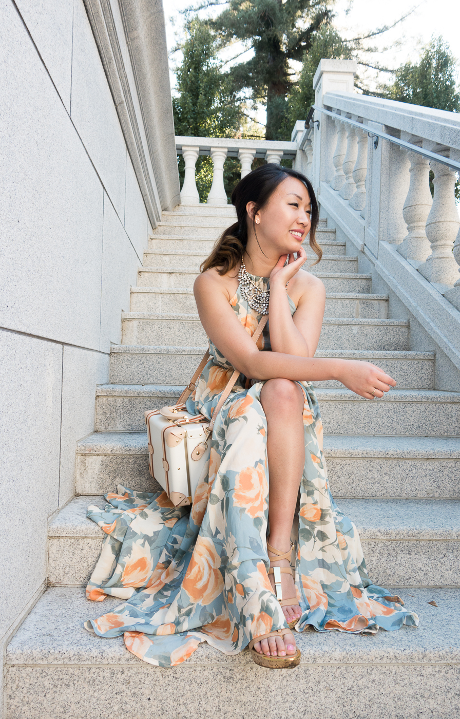Lulu's Floral Maxi Dress & Steamline Luggage Sweetheart Collection Vanity Bag | The Chic Diary