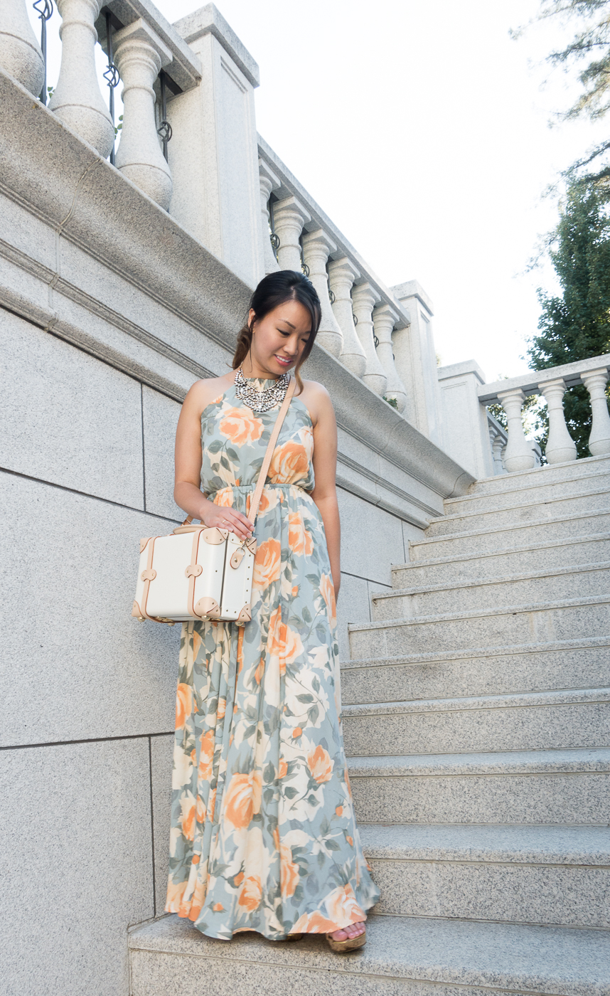 Lulu's Precious Memories Maxi Dress & Steamline Luggage Sweetheart Vanity Bag | The Chic Diary