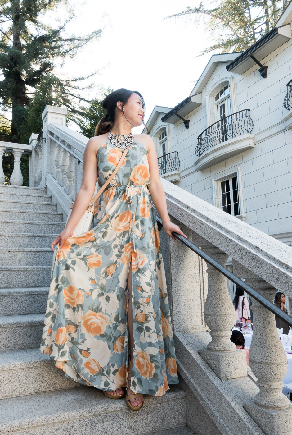 Lulu's Precious Memories Light Blue & Peach Floral Maxi Dress | The Chic Diary
