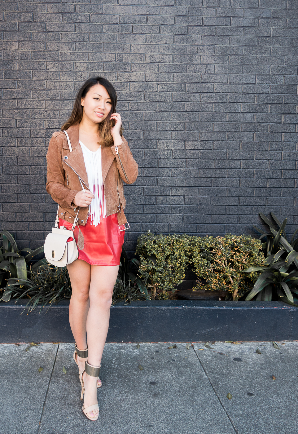 BlankNYC Suede Moto Jacket & Faux Leather Red Skirt | The Chic Diary
