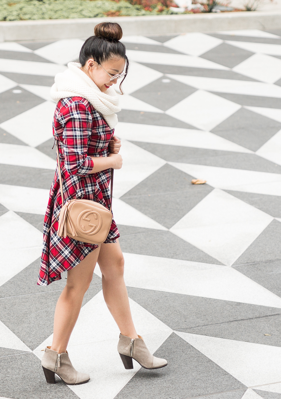 ASOS PrettyLittleThing Red Check Shirt Dress | The Chic Diary