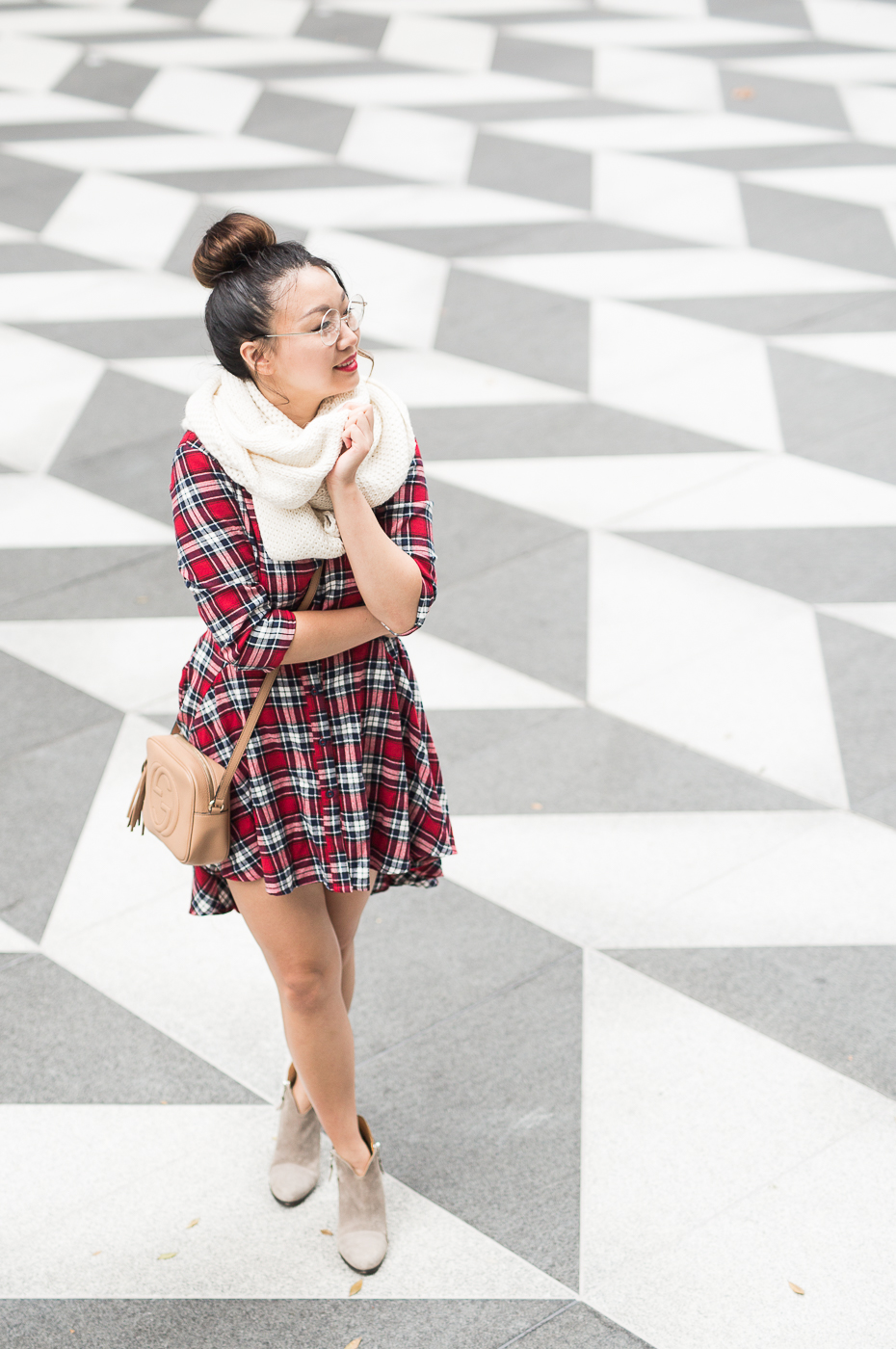Cuyana alpaca scarf & ASOS plaid dress | The Chic Diary