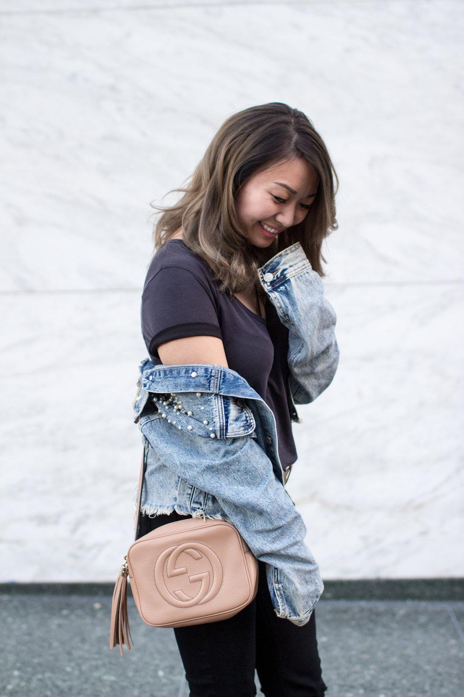Aritizia Wilfred Free Black Bodysuit & Gucci Soho Disco Bag | The Chic Diary