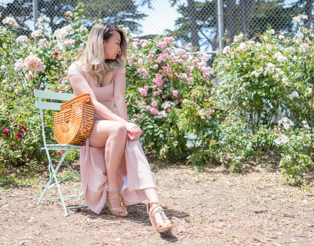 Reformation Blush Maxi Dress & Ellen & James Bamboo Ark Bag | The Chic Diary