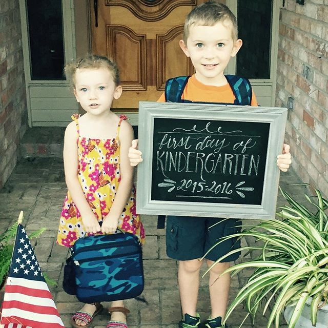 First day of Kindergarten. Made it through drop off without tears (I'm talking about me...little man did fine) of course, he had to have a hand lettered chalkboard for this first day pictures. 😊 #lettering #backtoschool #chalkboard #jessicaalbersstudio