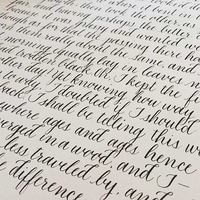 Robert Frost is one of my favorites. #robertfrost #poetry #poem #tworoads #calligraphy #jessicaalbersstudio