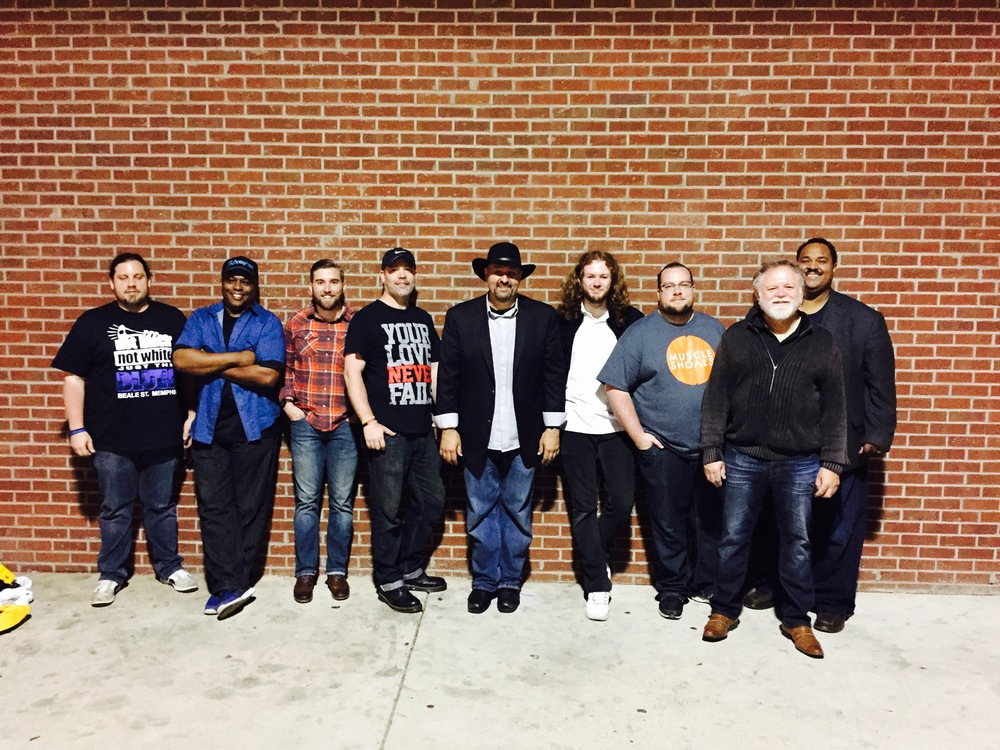 W.C. Handy Park – 4/28/15  (L-R) Jamie Fitt, Byron Bishop, Ian Withrow, Michael Chandler, Keith Stone, Isaac Nesbit, Jonathan Fitt, James Nesbit, Ken Toney