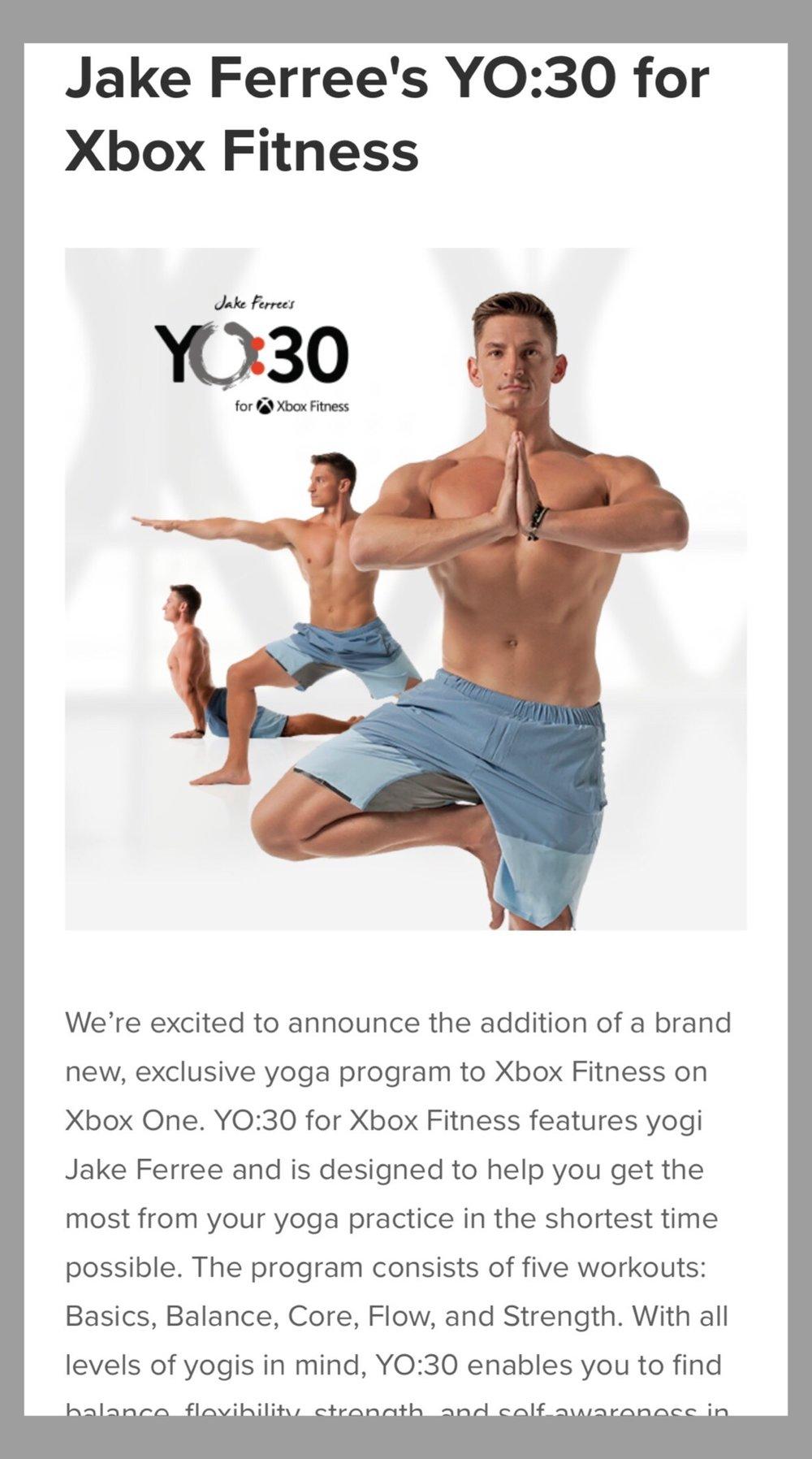 CREATOR OF YO:30 YOGA PROGRAM FOR XBOX FITNESS