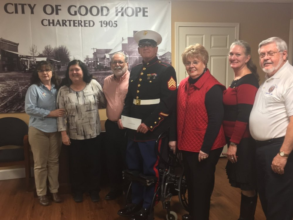 Shawn Lanphere, Marie Mize, Director MM Poppy Project, Mayor Jimmy Guthrie,  Dennis Walters, Gail Huie Smith, Sandra Lawson Shurling, Harold Patterson, Veterans Memorial Committee