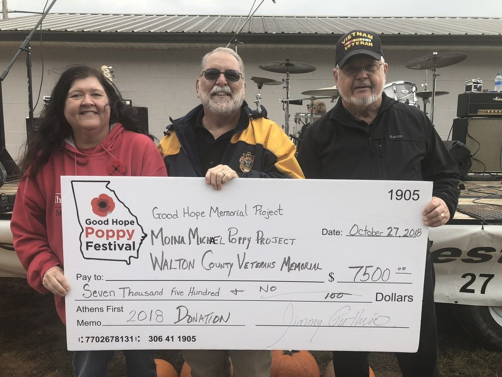 2018 Good Hope Poppy Festival  proudly presented  $8,500?  (after all proceeds were counted) to:     Walton County Veterans Memorial     &     Moina Michael Poppy Project     :      All Terrain Chair Initiative      & Good Hope Veteran Memorial