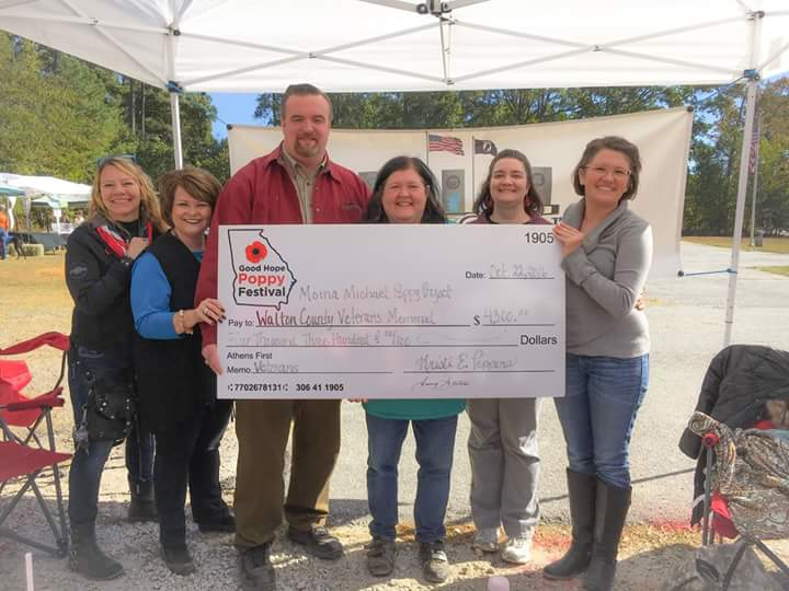 2016 Good Hope Poppy Festival  proudly presented  $5,000  (after all proceeds were counted) to:     Walton County Veterans Memorial     &     Moina Michael Poppy Project     :      All Terrain Chair Initiative