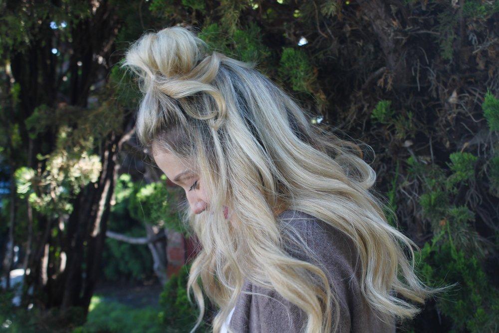 Messy Bun Half Up Hairstyle | Kaci Nicole