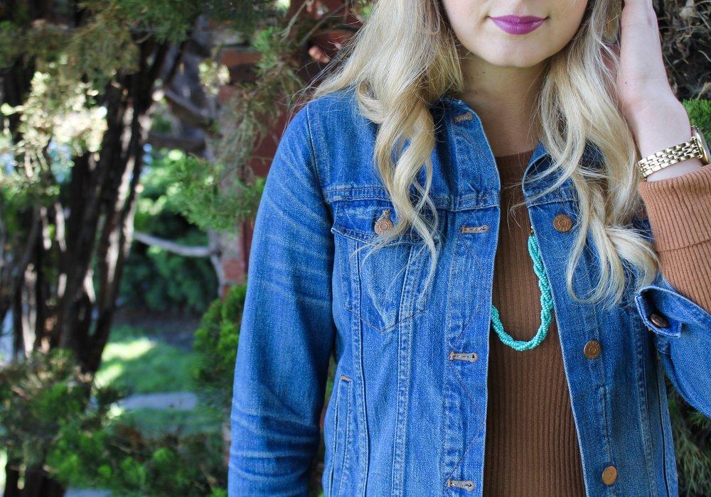 Burnt Orange Madewell Denim Jacket Fall Fashion Trends| Kaci Nicole