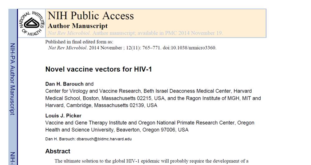 Novel vaccine vectors for HIV-1