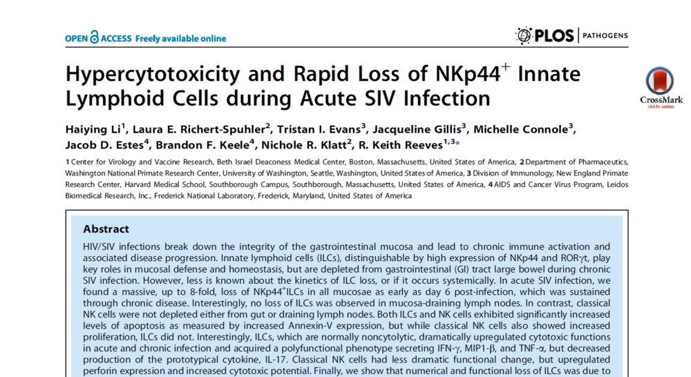 Hypercytotoxicity and Rapid Loss of NKp44+ Innate Lymphoid Cells during Acute SIV Infection