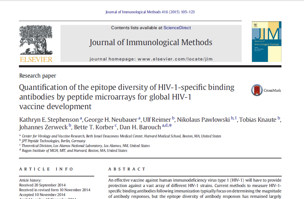 Quantification of the epitope diversity of HIV-1-specific binding antibodies by peptide microarrays for global HIV-1 vaccine development