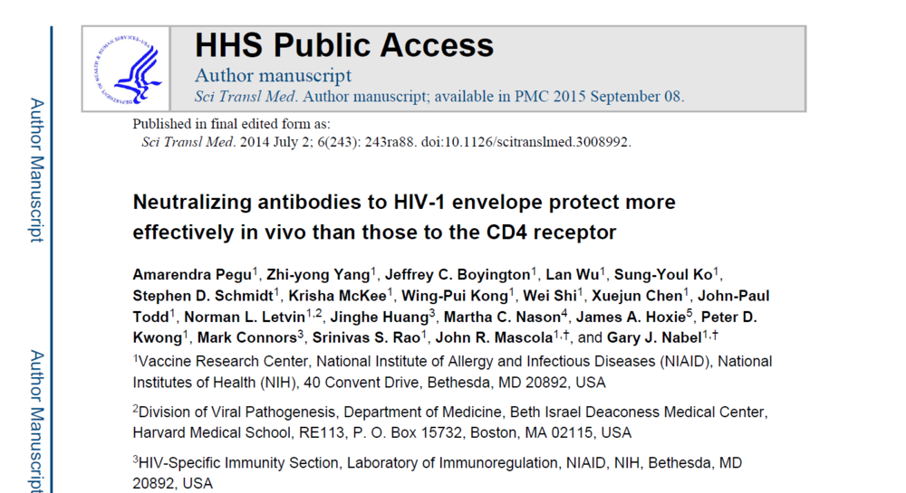 Neutralizing antibodies to HIV-1 envelope protect more effectively in vivo than those to the CD4 receptor